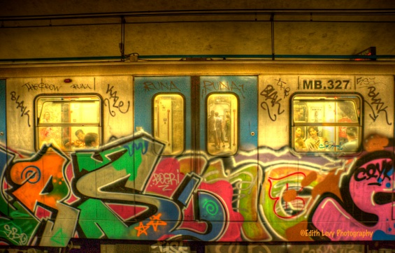 Rome Subway, graffiti, subway car, Italy, Rome,