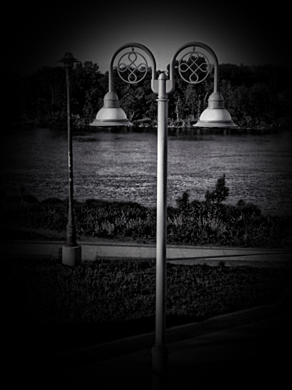lamp post by the river