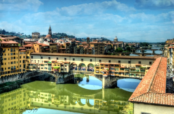 View of the Ponte Vecchio from The Ufizi Museum, Florence, Italy