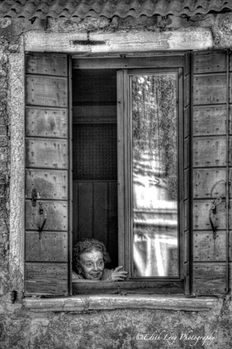 Murano, Italy, B&W, portrait of a woman