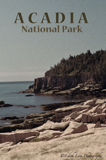 Acadia National Park, Otter Point, travel poster, vintage, Maine