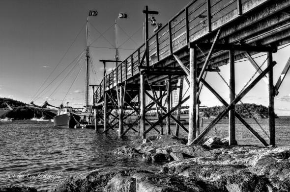 Bar harbor, Bar Harbor Inn, Maine, pier, B&W, monochrome, seascape