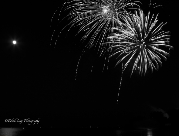 fireworks, Canada Day, Ashbridges Bay, Lake Ontario, Toronto, Black White, monochrome, abstract