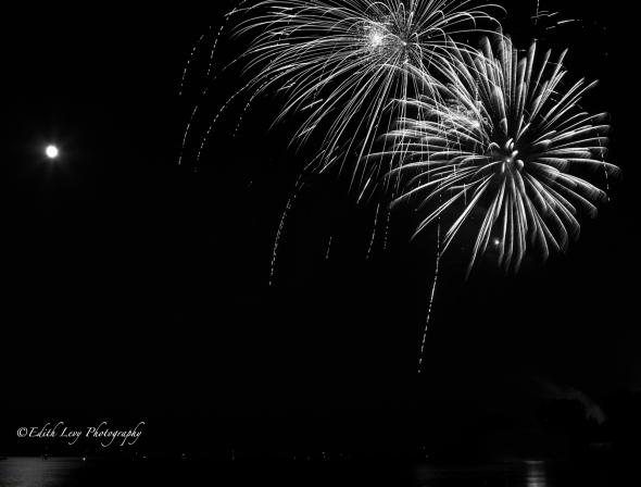 fireworks, Canada Day, Ashbridges Bay, Lake Ontario, Toronto, Black White, monochrome, abstract