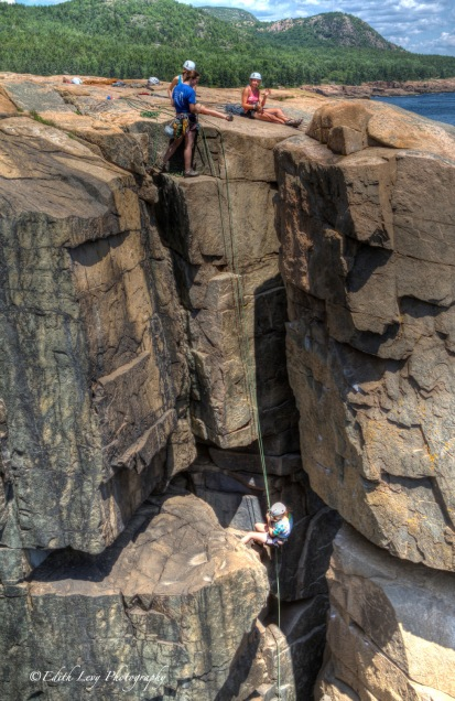 Maine, Acadia National Park, Otter Point, Otter Cliff, climbers, rapelling
