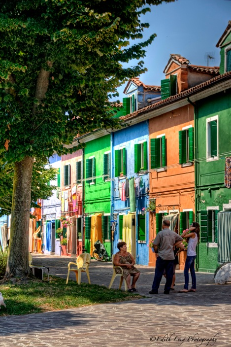Burano, Italy, venetian lagoon, colored houses, neighbourhood talk, street life