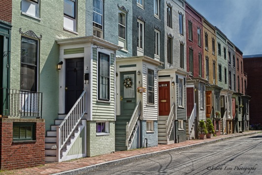 painted houses, Portland, Maine, row houses, street scene