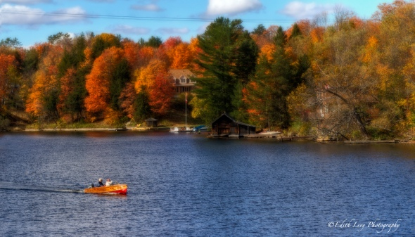 Muskoka, Ontario, fall foliage, fall colours, lake, boat, landscape