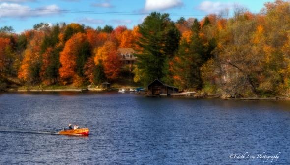Muskoka, Ontario, fall foliage, fall colours, lake, boat, landscape