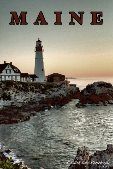 Maine, Portland Head, vintage travel poster, lighthouse