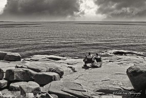 Maine, Acadia National park, Otter Point, ocean, view, B&W, landscape