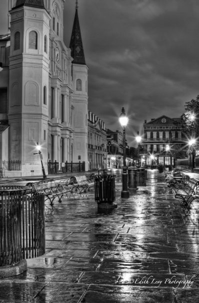 Jackson Square, New Orleans, St. Louis Cathedral, deserted, cobblestones