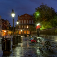 New Orleans, NOLA, Jackson Square, benches, sunrise, dawn, travel photography