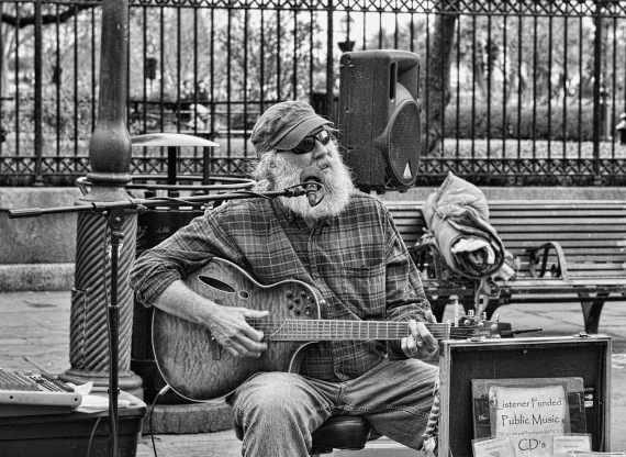 New Orleans, Jackson Square, street performer, musician, black and white, street photography