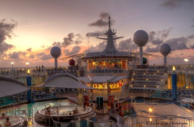 Navigator of the Seas, pool deck, sunset, cruise, bar, ocean