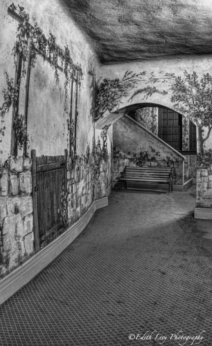 Winter Garden theatre, Toronto, hallway, garden, painted walls, bench, black and white