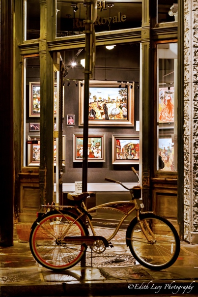 art store, bicycle, Royale Street, New Orleans, night photography