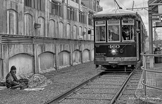 New Orleans, streetcar, street photography, black and white, homeless, man