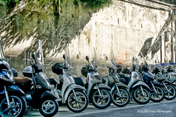 scooters, vespa, Florence, Italy, parked, shadows