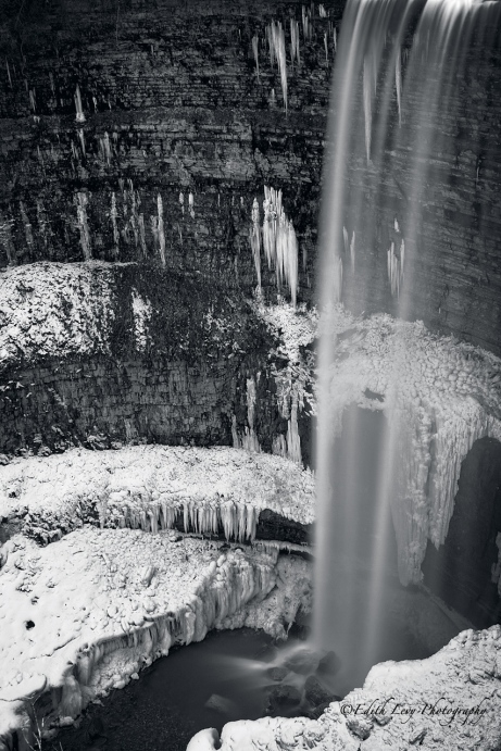 smokey hollow falls, Hamilton, Ontario, long exposure, black and white, snow, ice, water