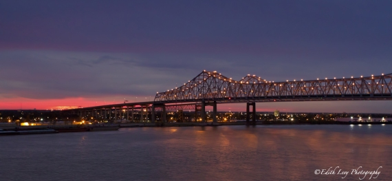 Mississippi river, New Orleans, bridge, sunrise,