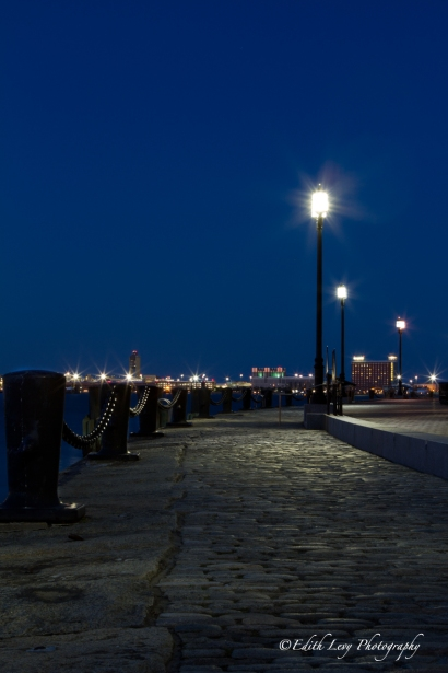 Boston, Fan Pier, Boston harbor, blue hour, long exposure