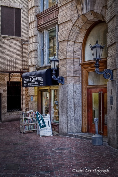 book store, alley, Freedom Trail, Boston, travel photography