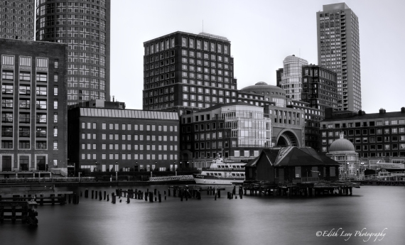 Boston, harbor, long exposure, black and white, pier, Topaz Clarity