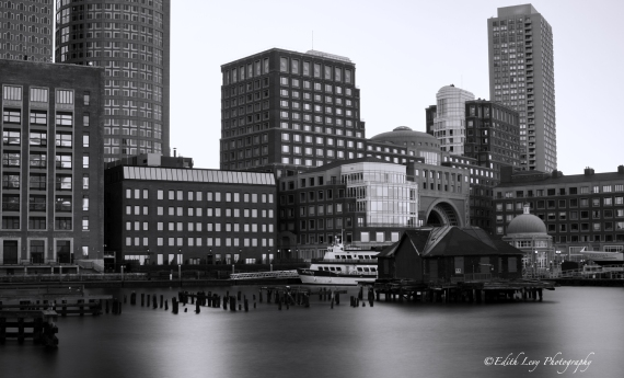 Boston, harbor, long exposure, black and white, pier