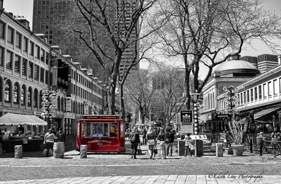 Boston, Faneuil Hall, Black & White, red, street photography