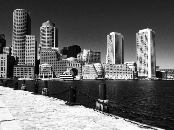 Boston, skyline, fan pier, Moakley courthouse pier, iPhone, iPhoneography, Dramatic Black & White, Snapseed