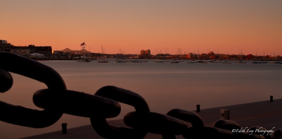 Boston Harbor, sunset, pier, long exposure, sailboats