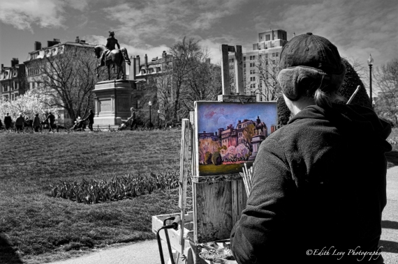 Boston, Boston Common, park, artist, painter, selective color, Topaz Black & White Effects, travel photography
