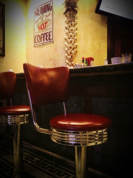 San Francisco, California, Sears Restaurent, diner stools, coffee, iphoneography, Snapseed, PhotoToaster