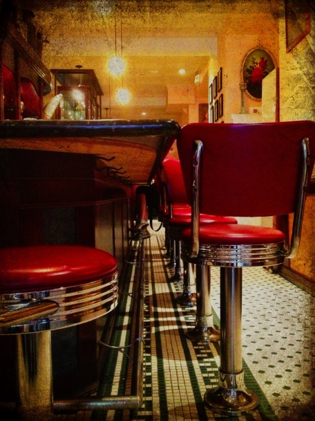 San Francisco, California, Sears Restaurent, diner stools, counter, iphoneography, Snapseed, PhotoToaster