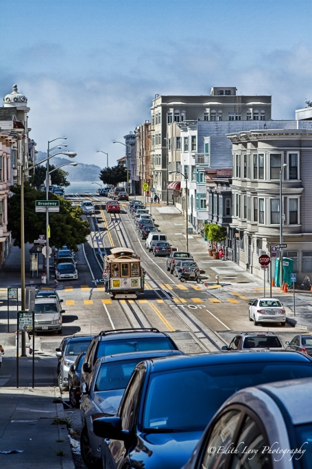 San Francisco, California, cable car, cars, bay, broadway, travel photography