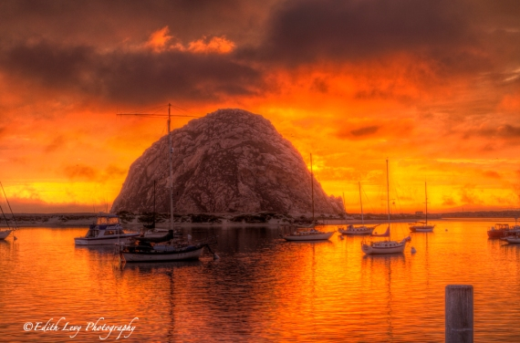 Morro Bay, California, Morro Rock, marina, sunset, boats, water, fiery sky, travel photography