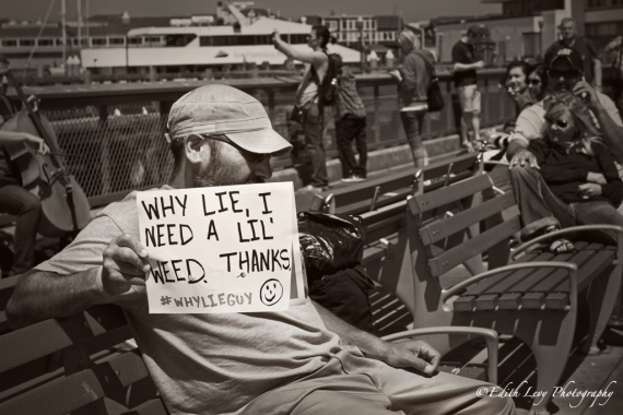 San Francisco, Fisherman's Wharf, Pier 39, street photography, homeless, weed, sign, black & white, #whylieguy