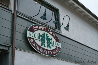 Santa Barbara, California, restaurant, Brophy Brothers, Brophy Bros., seafood, wharf, clams, sign