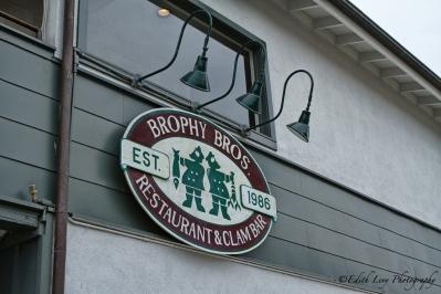 Santa Barbara, California, restaurant, Brophy Brothers, Brophy Bros., seafood, wharf, clams, sign