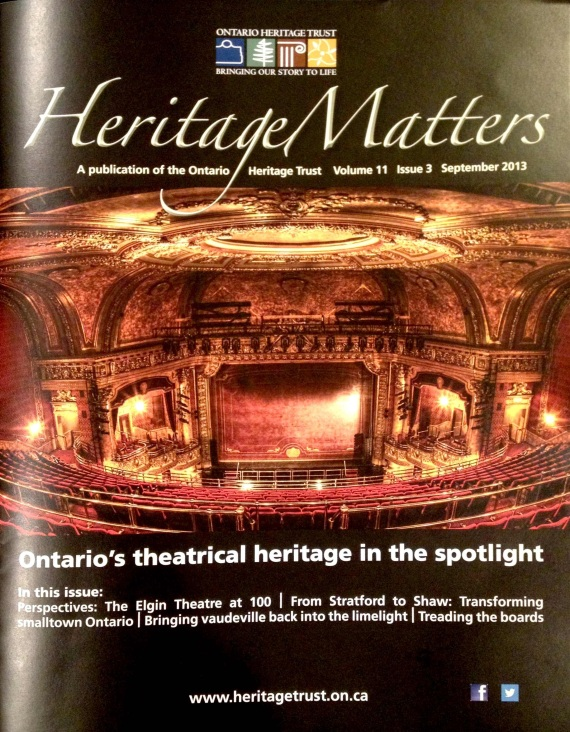 Elgin Theatre, WinterGarden Theatre, Heritage Matters, Brochure Cover, Ontario Heritage Trust, Edith Levy Photography,