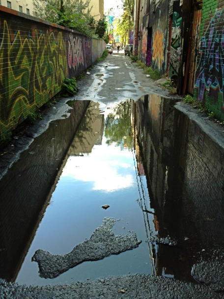 Graffiti Alley, Toronto, Ontario, puddle, reflections, street art, iPhone, iPhoneography