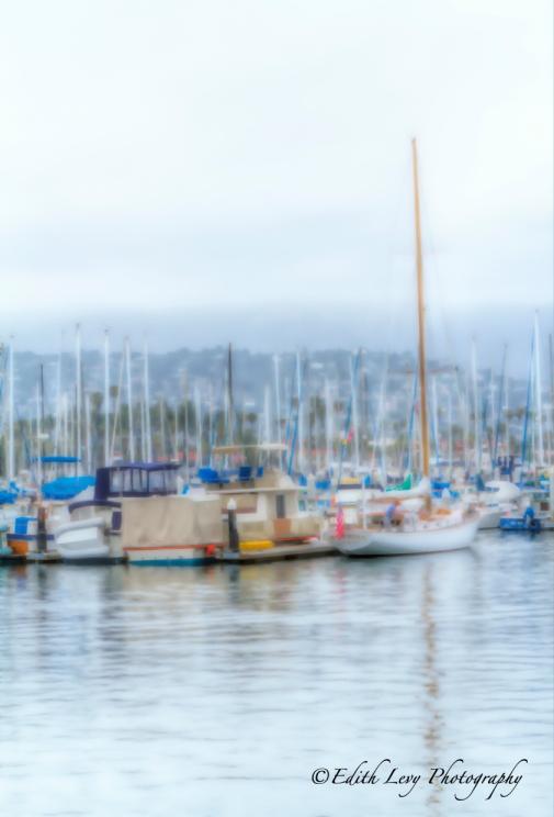 Santa Barbara, California, harbor, sailboats, abstract, pacific ocean, surreal, wharf
