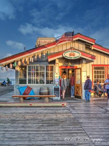 Santa Barbara, California, pier, wharf, Stearns Wharf, restaurant, seafood, lobster, HDR, travel photography