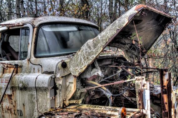 Rockwood Autoyard, Ontario, tires, truck, hood, rust, HDR, windshield