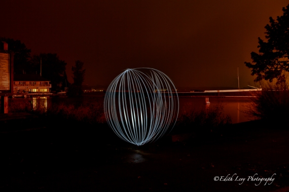Toronto, light painting, Ward Island, Centre Island, ferry terminal, city lights, night photography