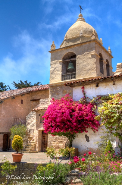 Carmel Mission, Carmel, California, bell tower, garden, Monterey Peninsula, travel photography