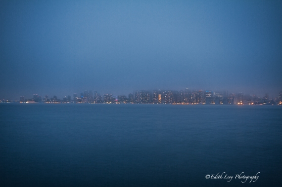 Toronto, cityscape, skyline, night photography, fog, Ward Island, long exposure, blue hour