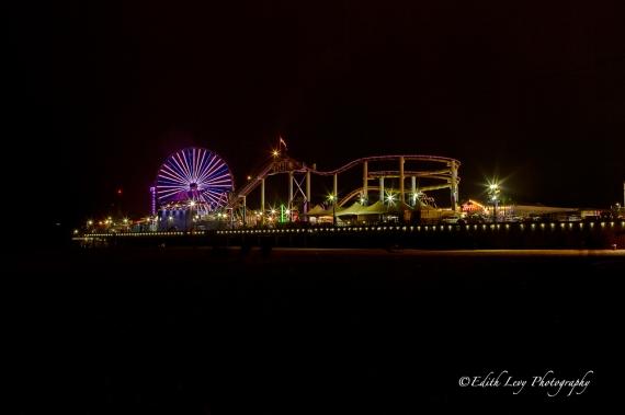 Santa Monica, pier, amusement park, lights, ferris wheel, roller coaster, night photography, long exposure, travel photography, beach