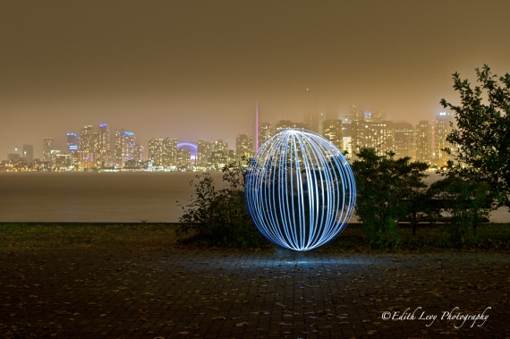 Toronto, skyline, light painting, CN Tower, Ward Island, Centre Island, city lights, night photography
